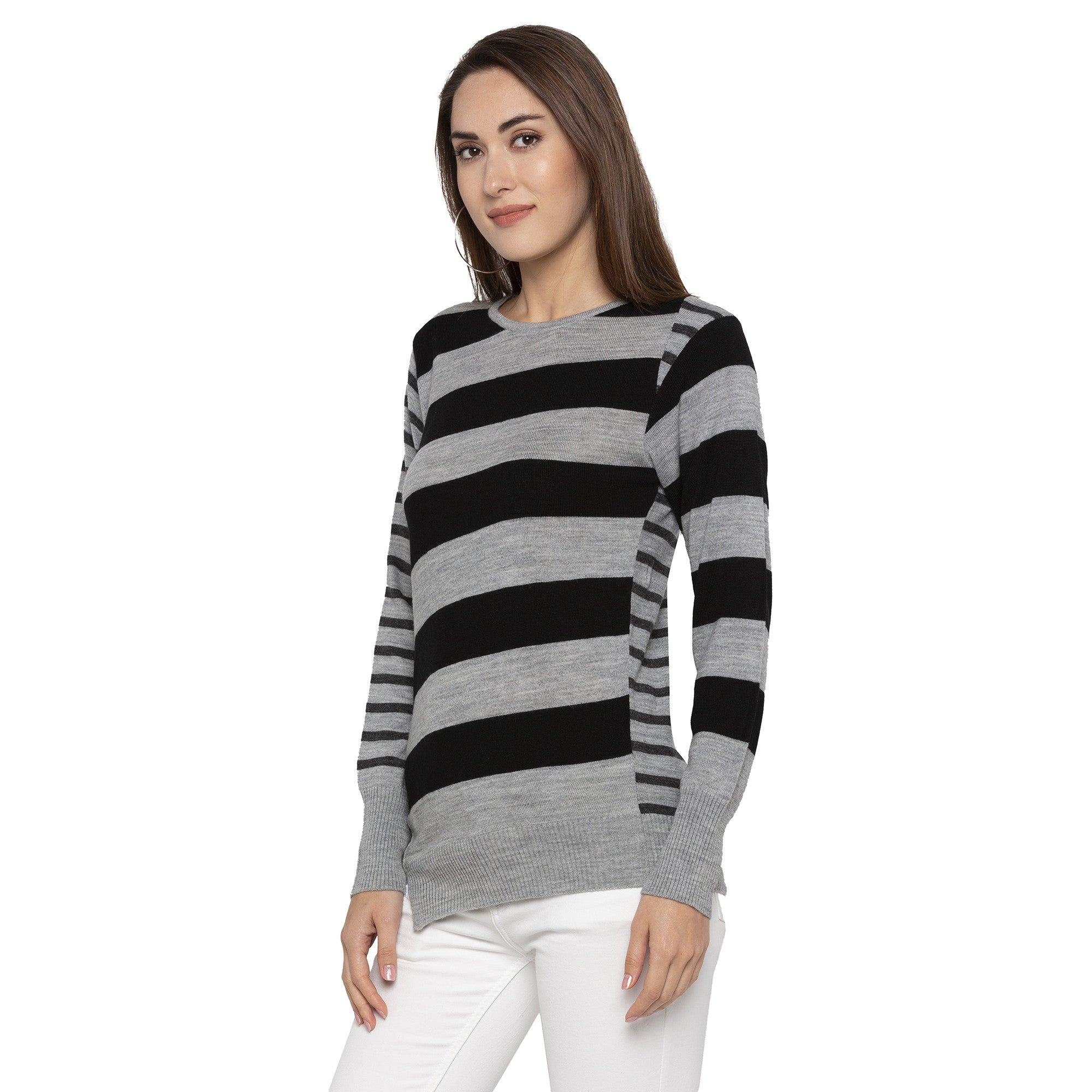 Casual Grey Color Striped Slim Fit Tops-2