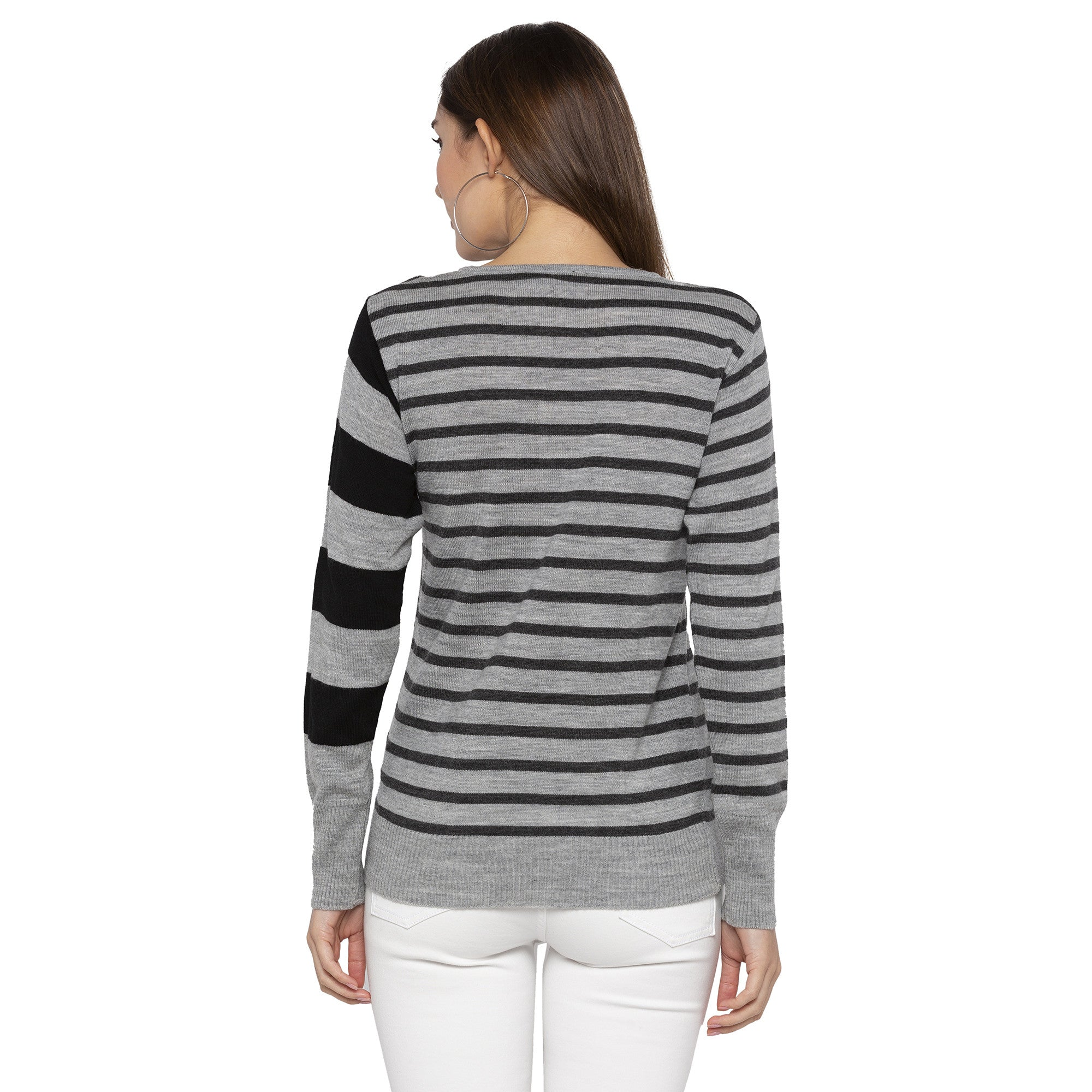 Casual Grey Color Striped Slim Fit Tops-3