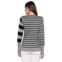 Load image into Gallery viewer, Casual Grey Color Striped Slim Fit Tops-3