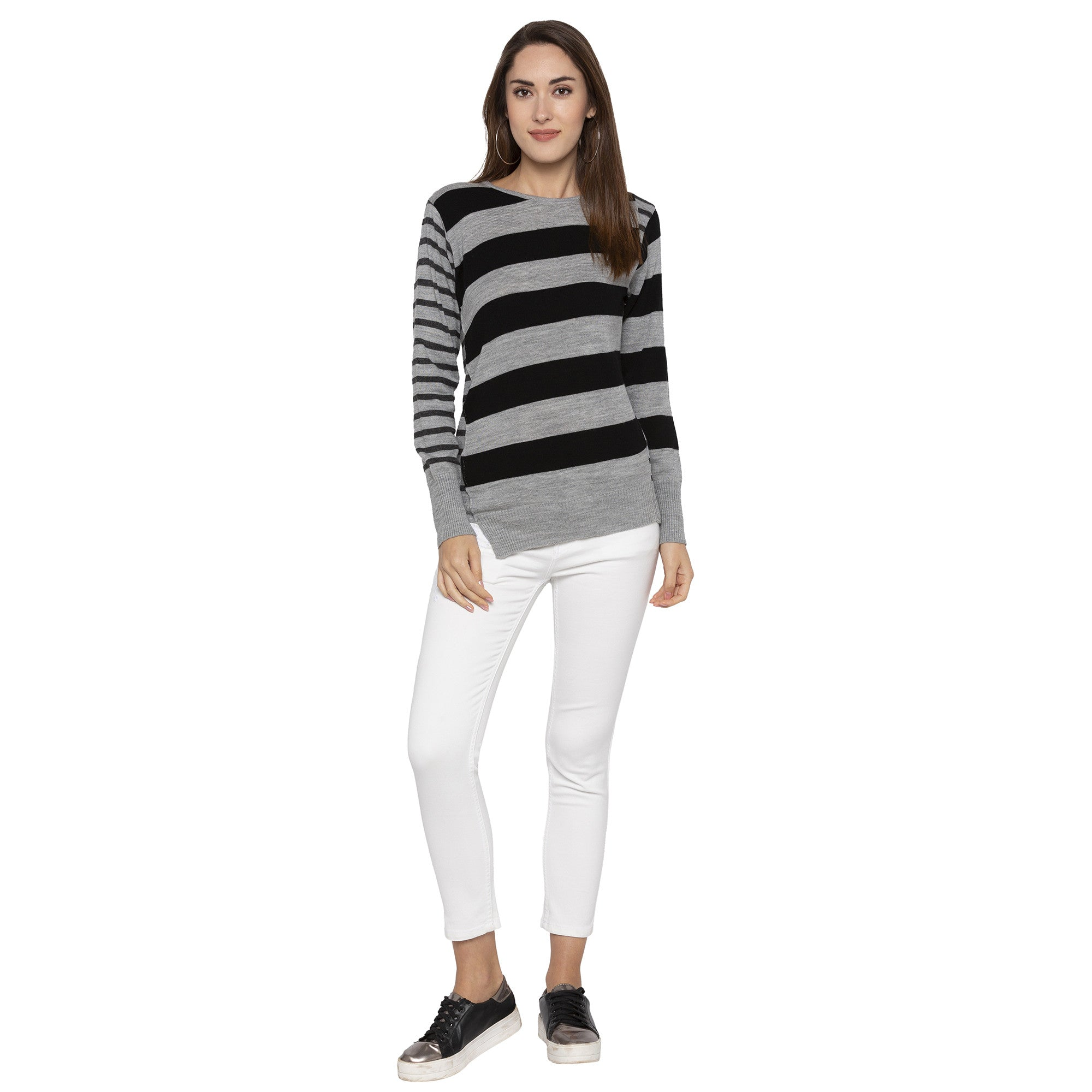 Casual Grey Color Striped Slim Fit Tops-4