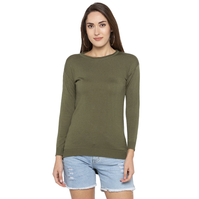 Casual Olive Color Solid Slim Fit Tops-1