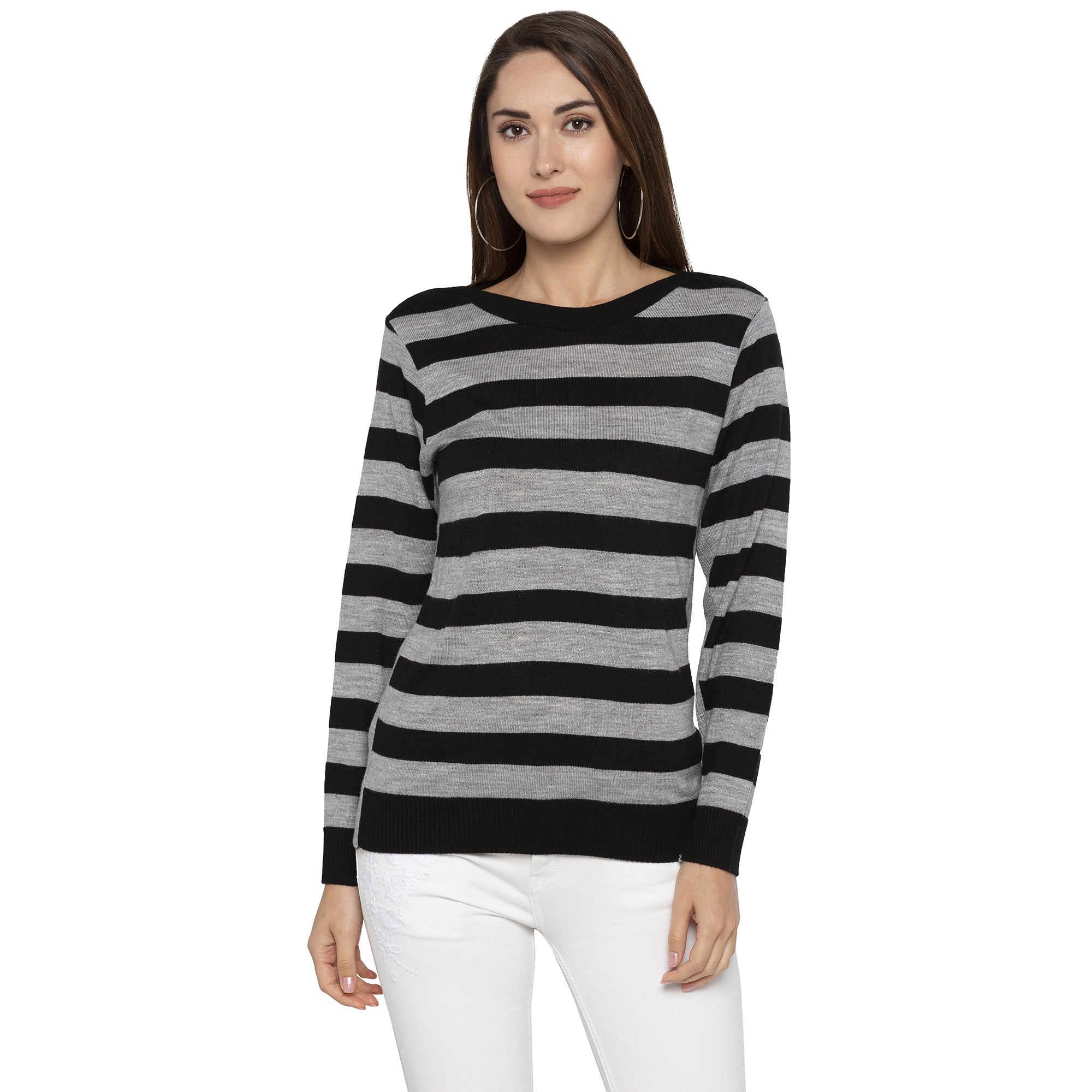 Casual Black Color Striped Regular Fit Tops-1