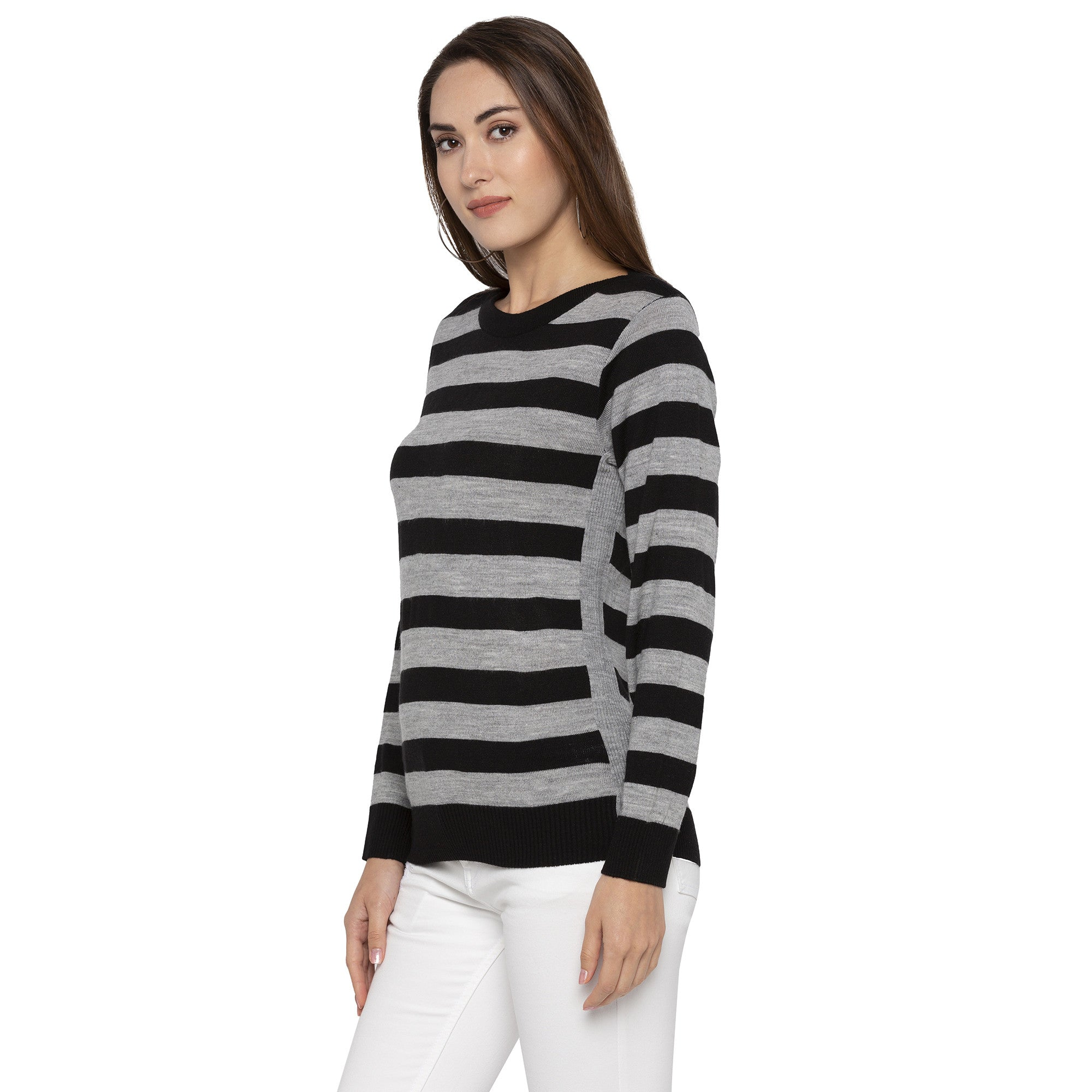 Casual Black Color Striped Regular Fit Tops-2