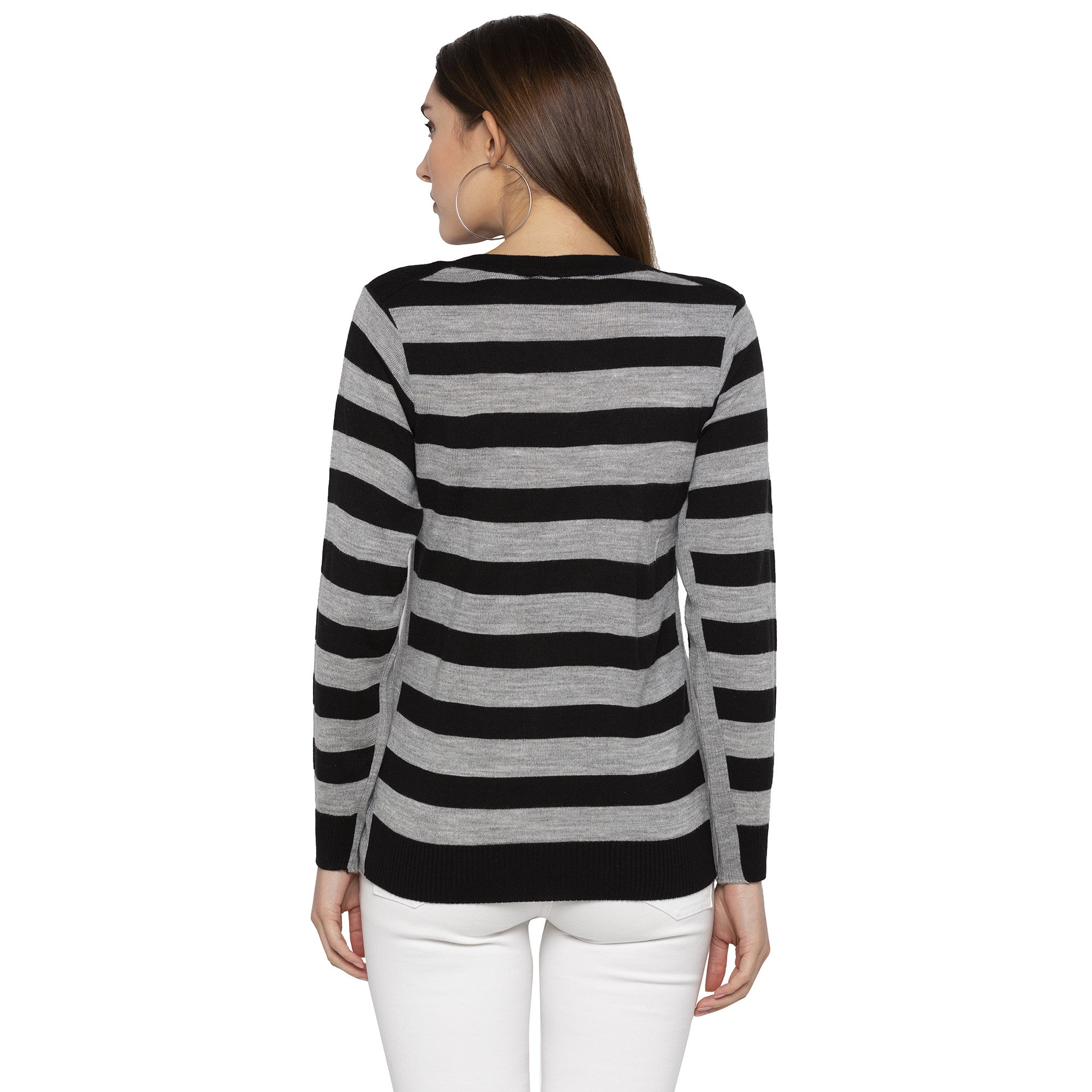 Casual Black Color Striped Regular Fit Tops-3