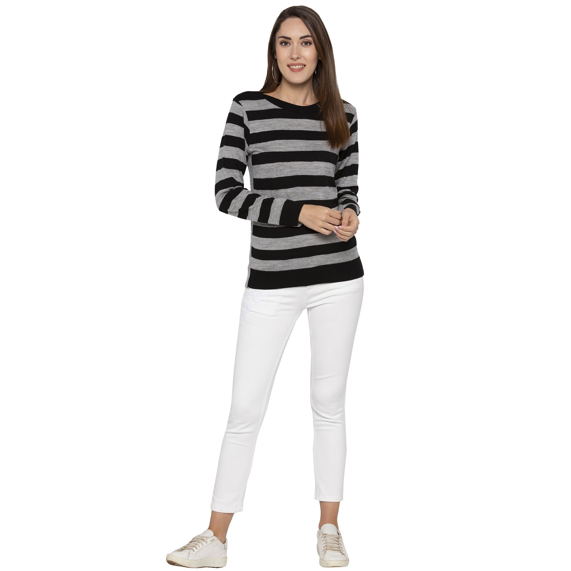 Casual Black Color Striped Regular Fit Tops-4