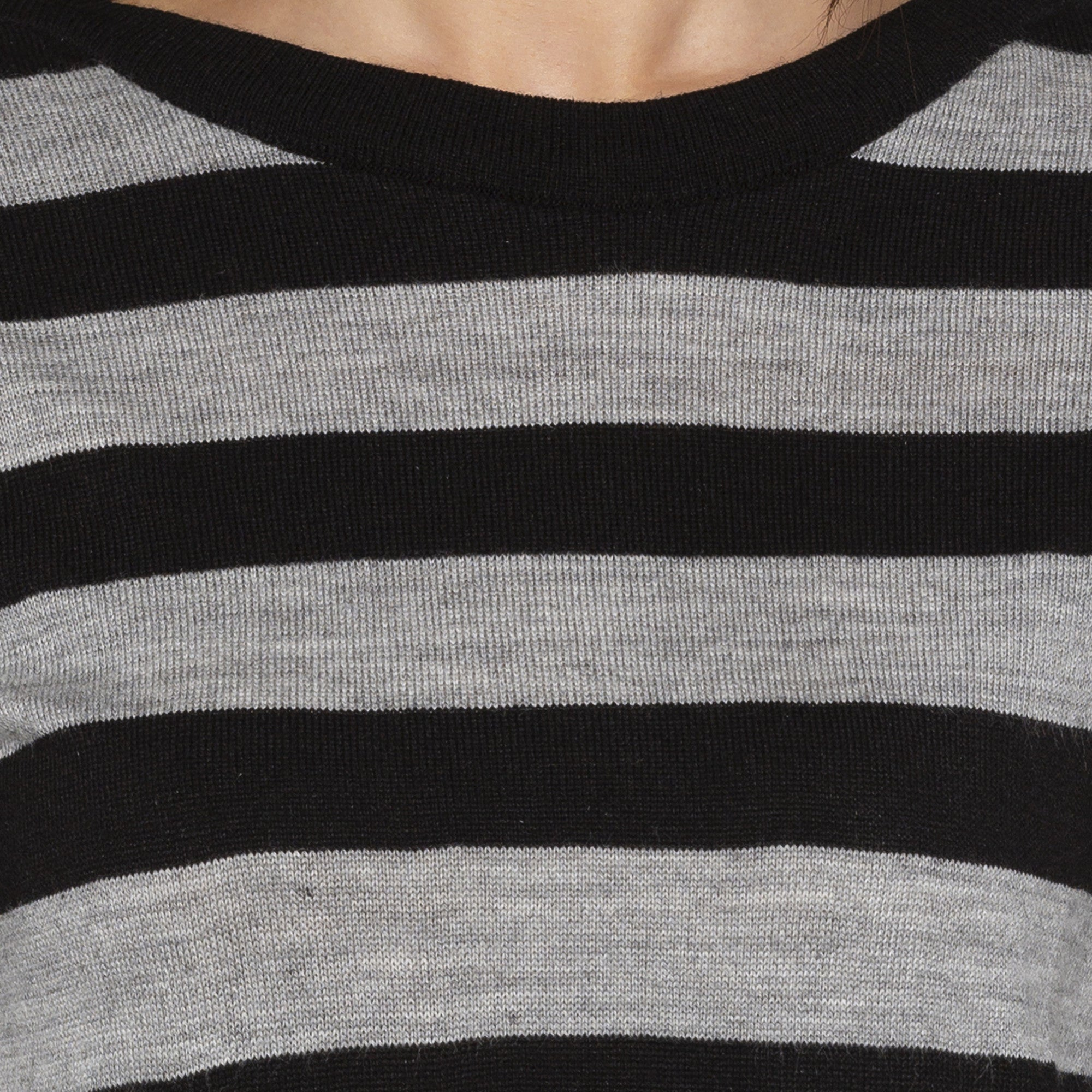 Casual Black Color Striped Regular Fit Tops-5