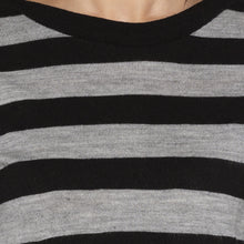 Load image into Gallery viewer, Casual Black Color Striped Regular Fit Tops-5