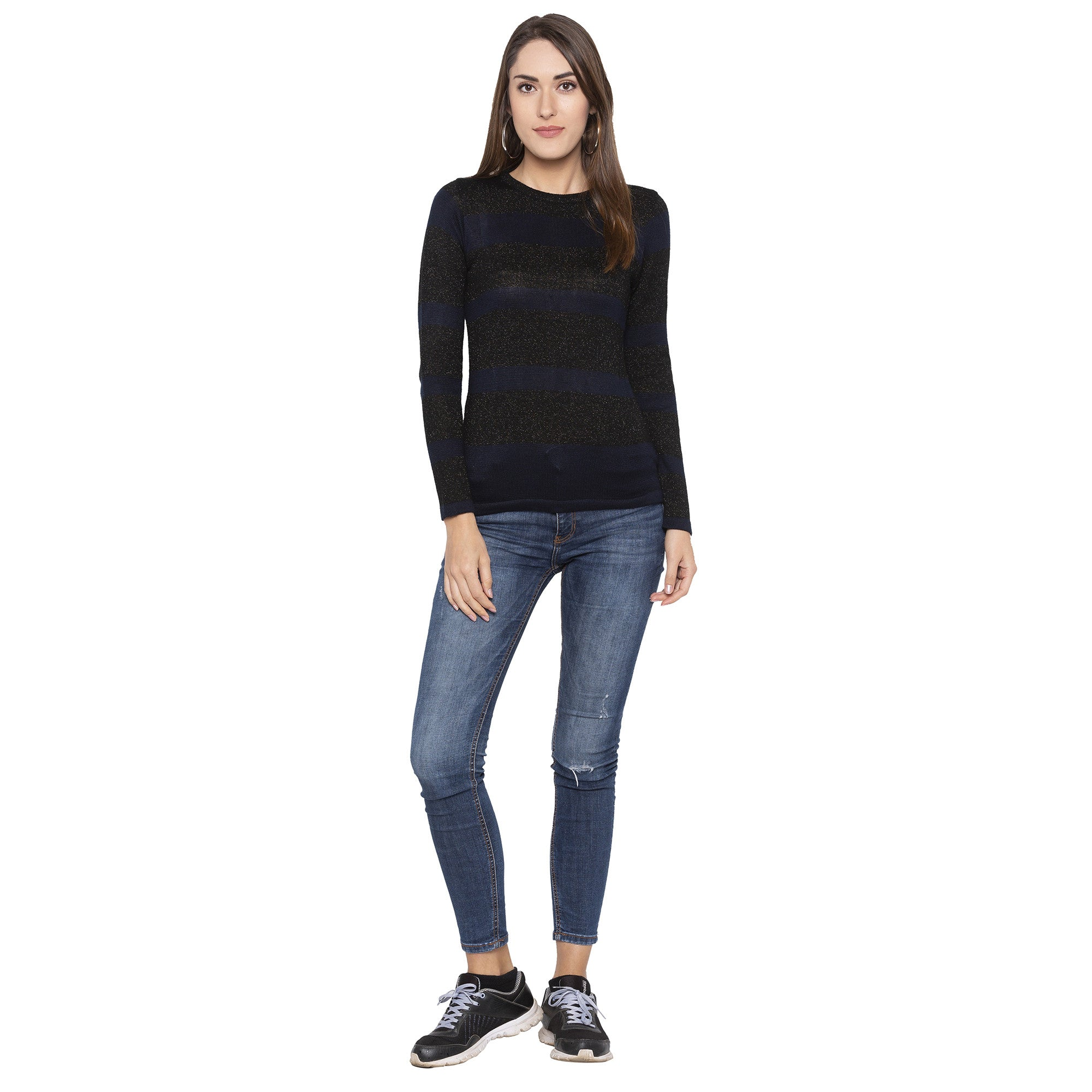 Casual Navy Blue Color Solid Slim Fit Tops-4