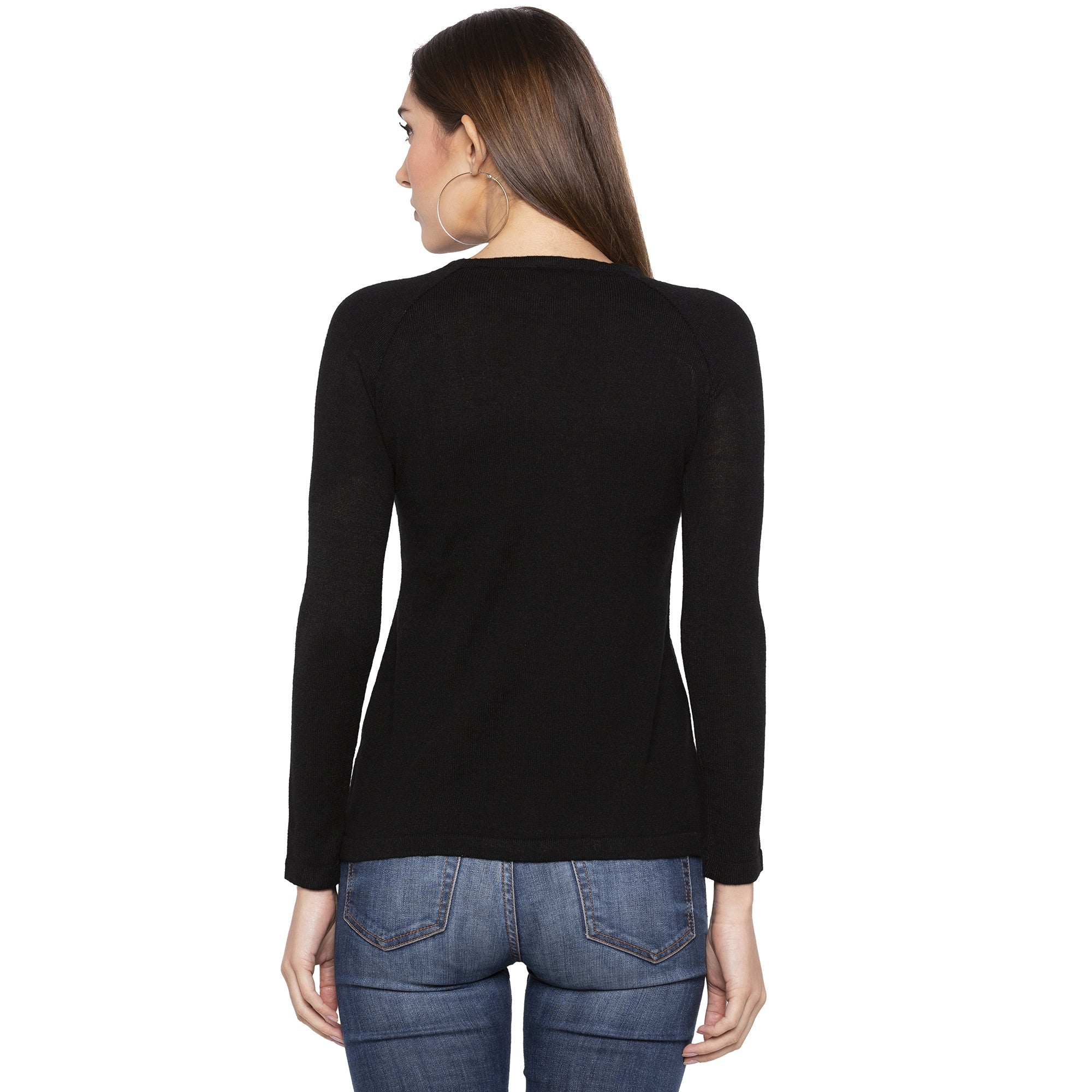 Casual Black Color Solid Slim Fit Tops-3