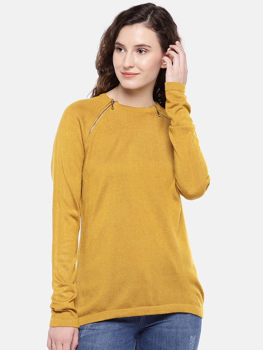 Women Mustard Yellow Solid Top-1