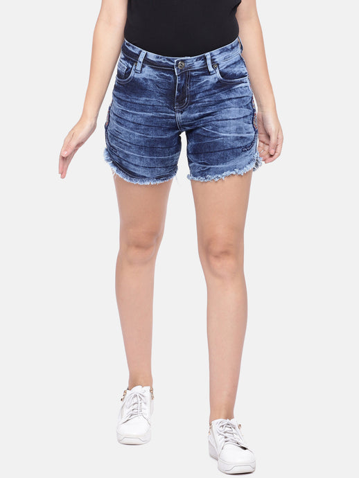 Navy Blue Solid Regular Fit Denim Shorts-1