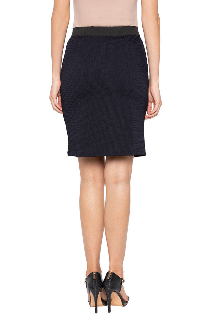 Navy Blue Bodycon Knee Length Skirt-3