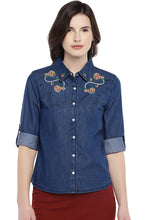 Load image into Gallery viewer, Blue Regular Fit Solid Casual Shirt-1