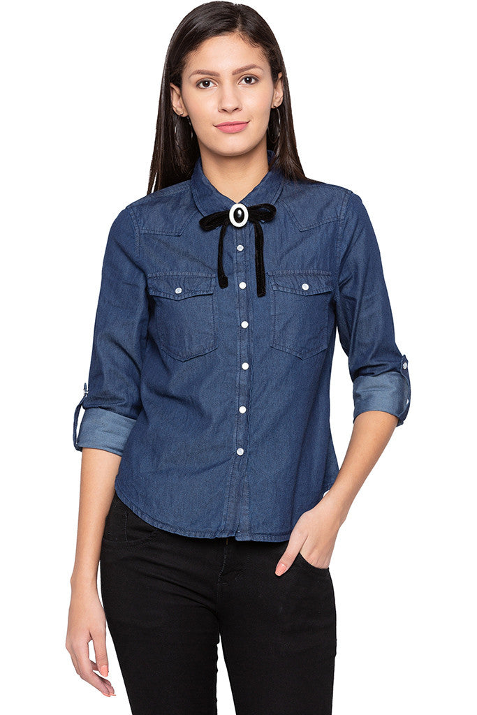 Ribbon Bow Tie Casual Indigo Shirt-1
