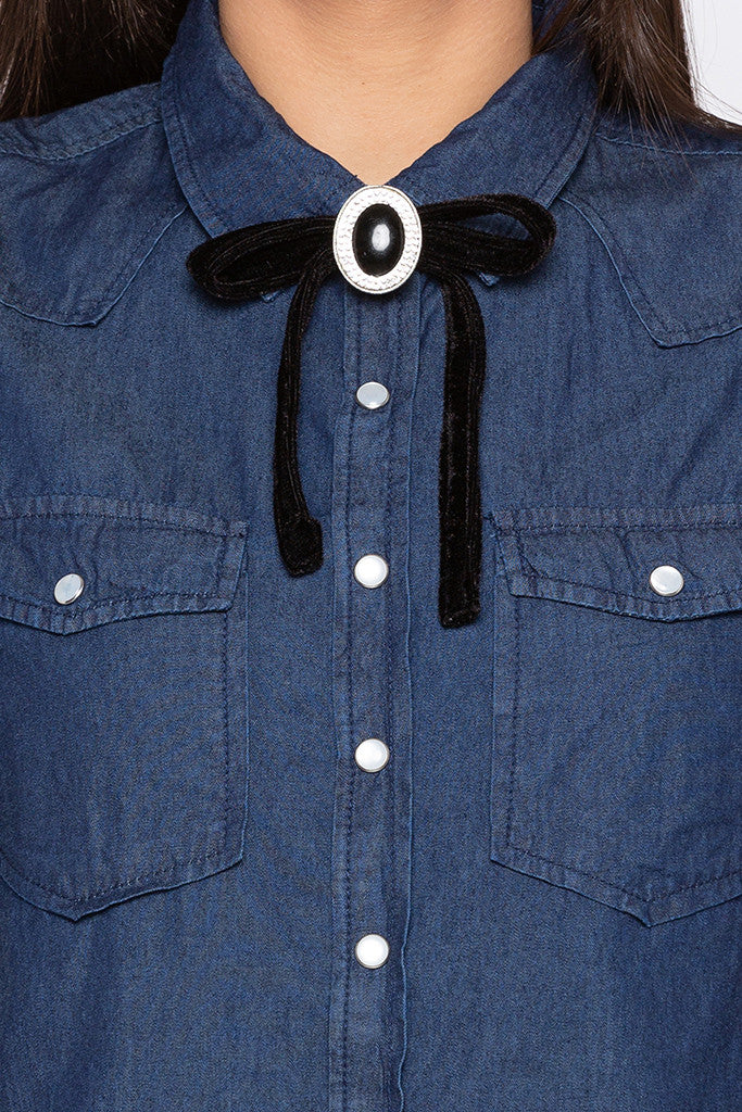 Ribbon Bow Tie Casual Indigo Shirt-5