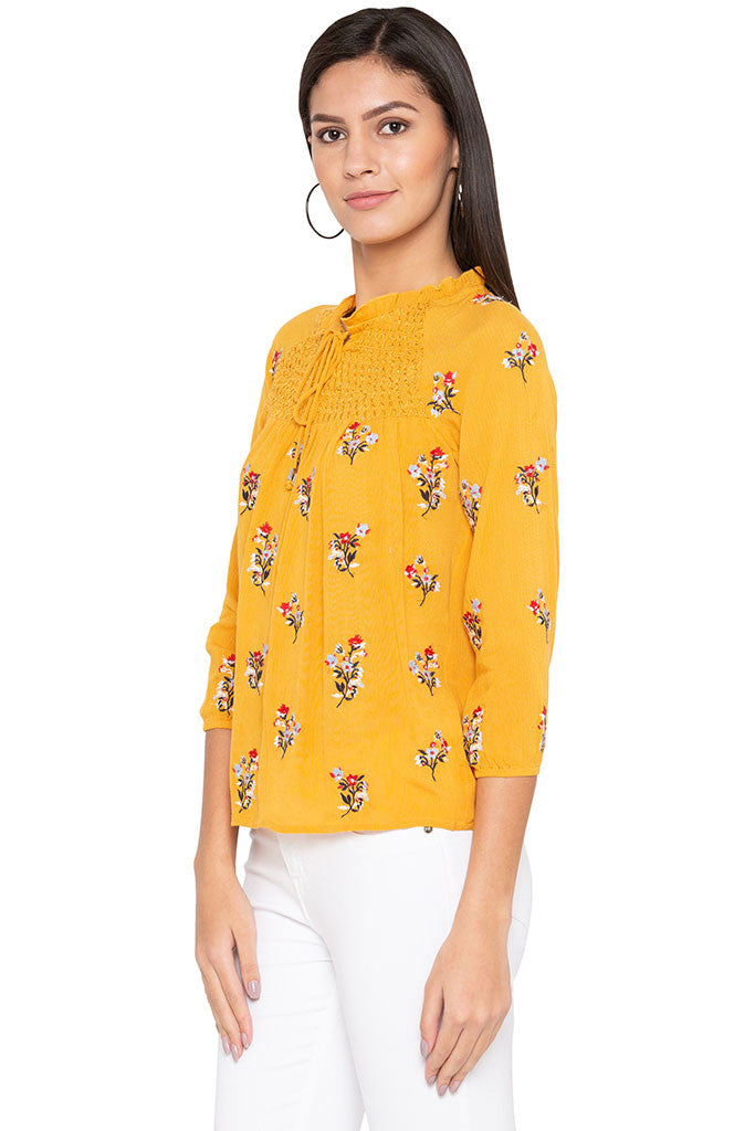 Ruffle Neck Floral Print Top-4