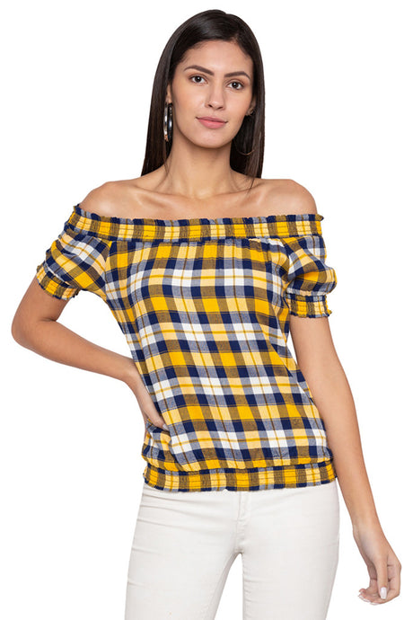 Checked Off Shoulder Top-1