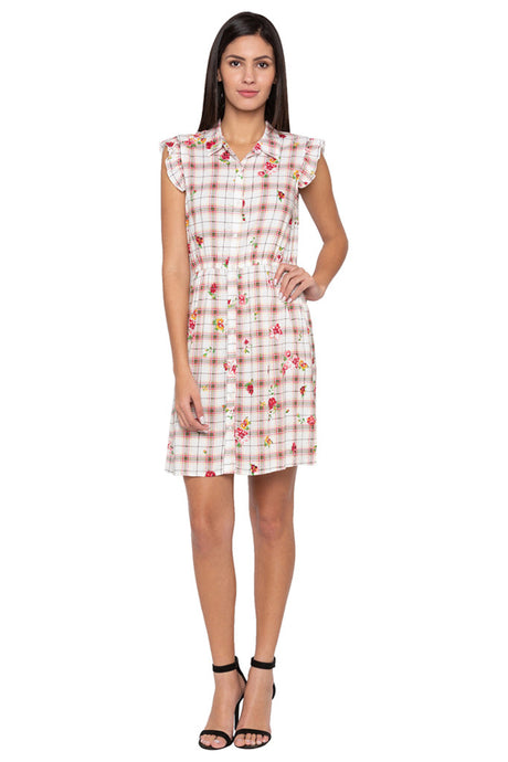 Checked Floral Print Dress-1