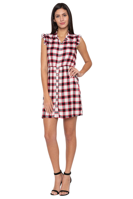 Checked Short Dress-1
