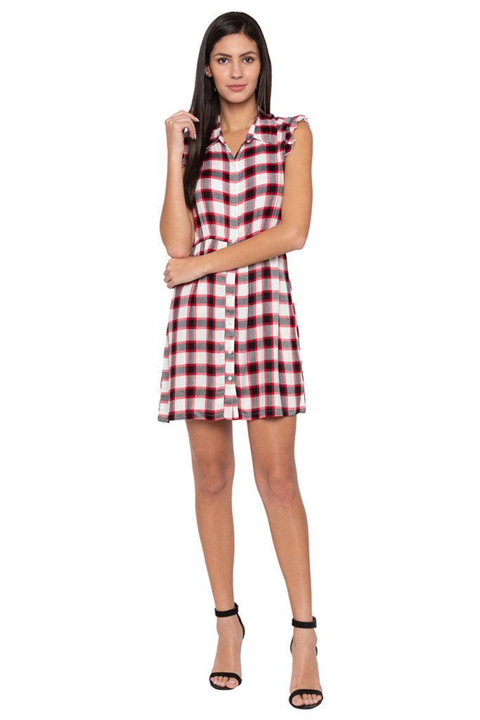 Checked Short Dress-2