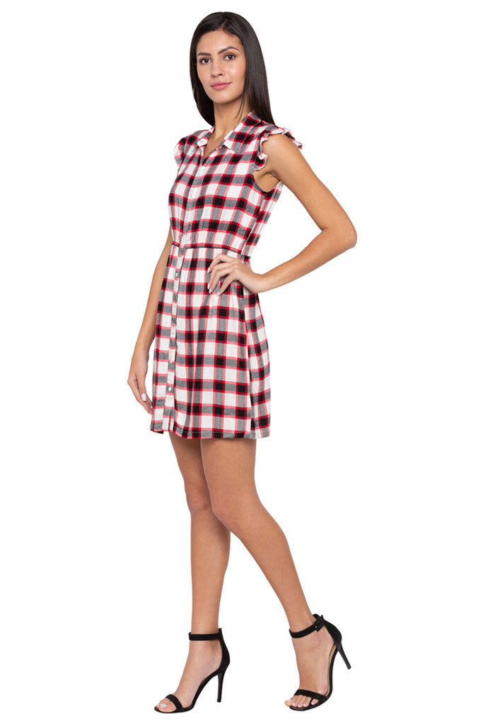 Checked Short Dress-4