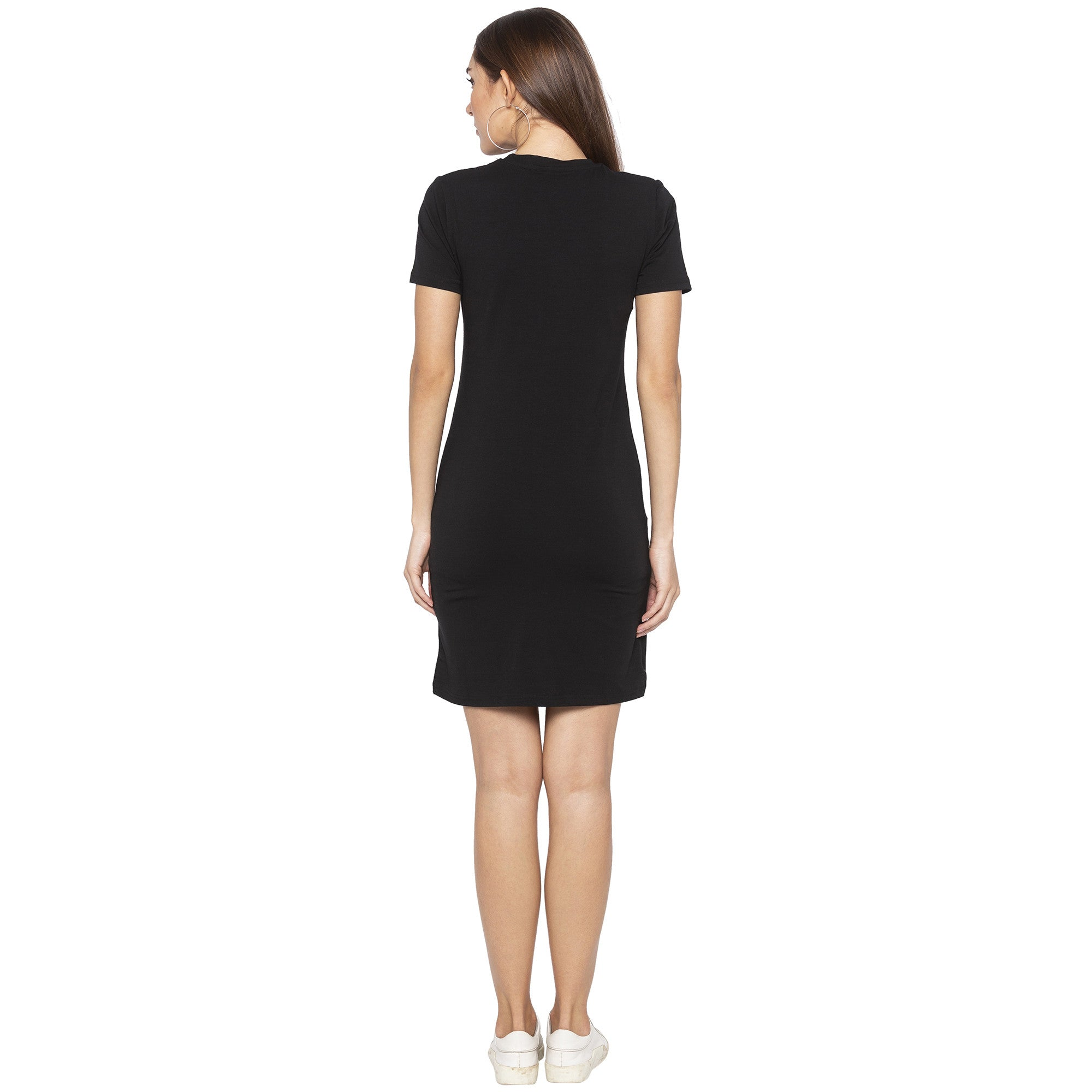 Casual Black Color Solid Sheath Dress-3