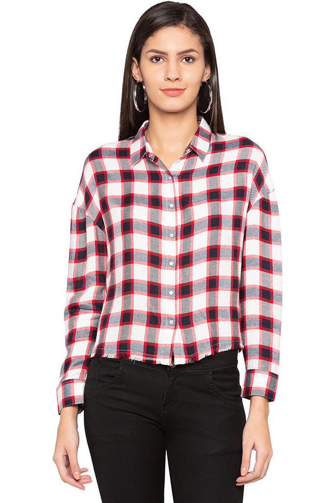 Raw Edge Checked Shirt-1