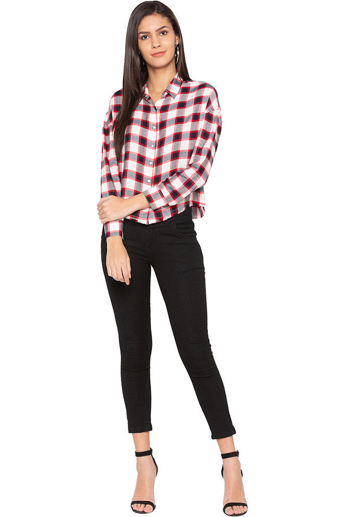 Raw Edge Checked Shirt-2