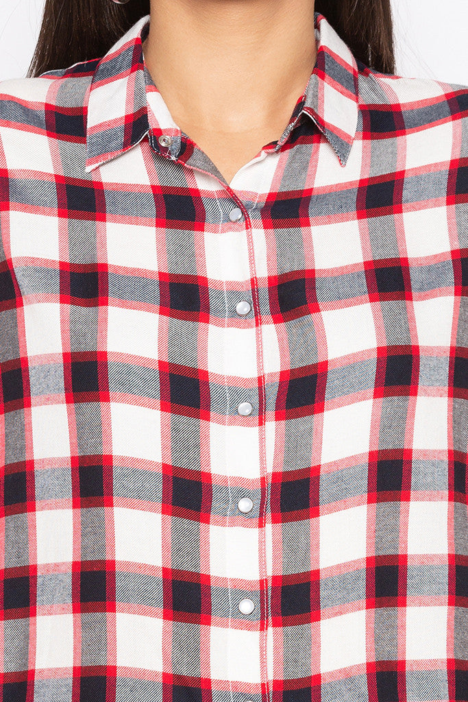 Raw Edge Checked Shirt-5