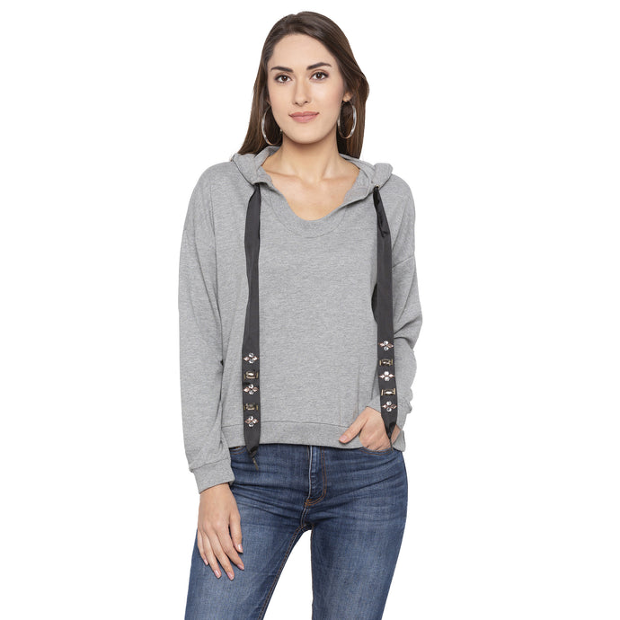 Casual Grey Color Solid Hooded Sweatshirt-1