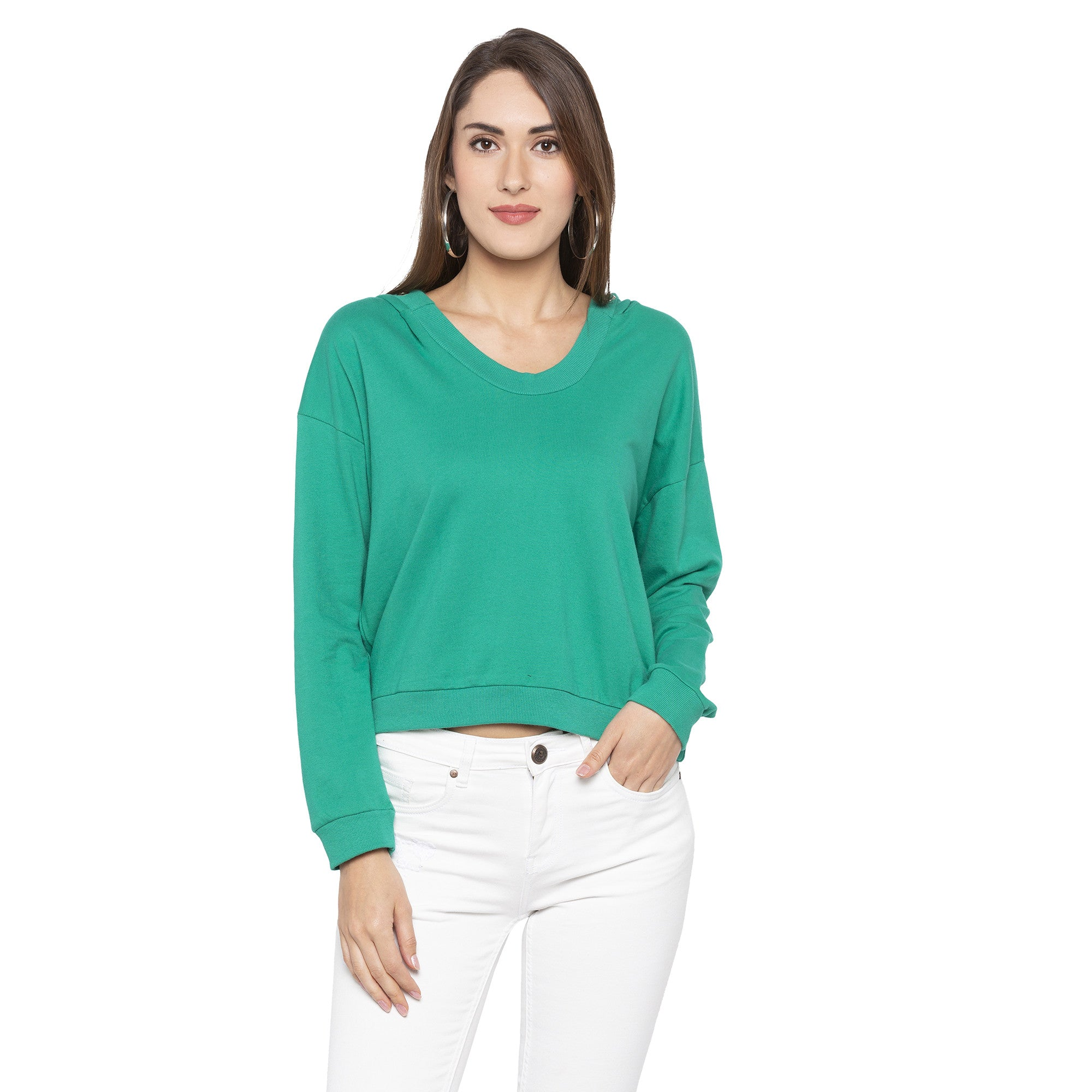 Casual Green Color Solid Sweatshirt-1