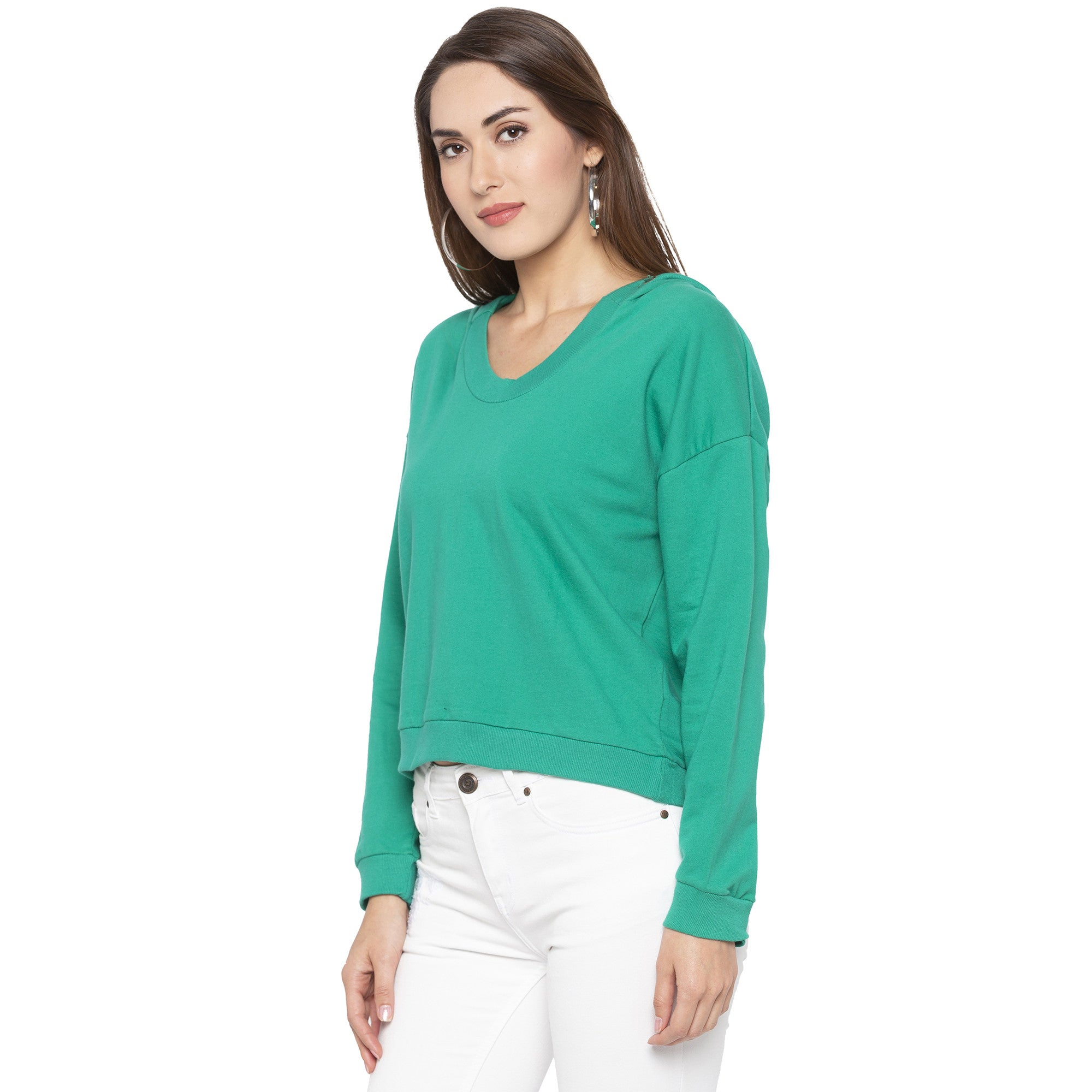 Casual Green Color Solid Sweatshirt-2