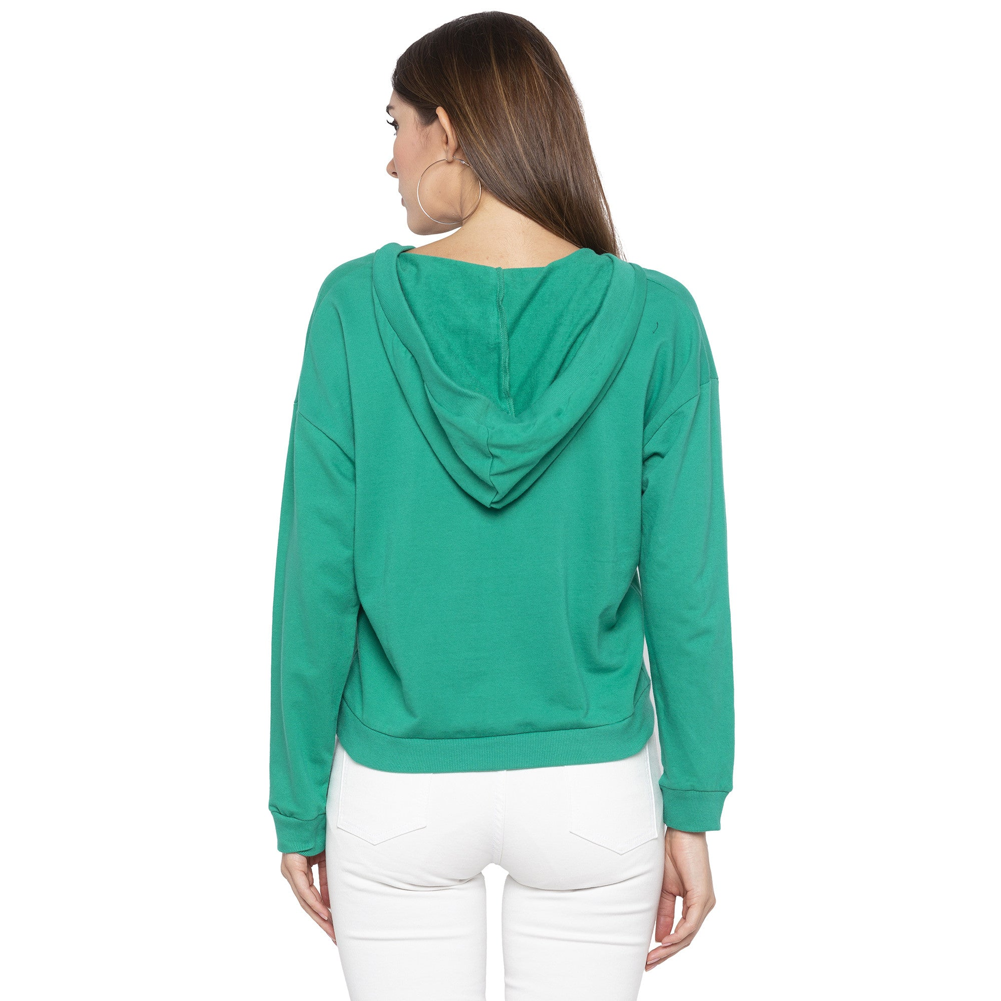 Casual Green Color Solid Sweatshirt-3