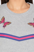 Load image into Gallery viewer, Butterfly Print Grey Melange Sweatshirt-5