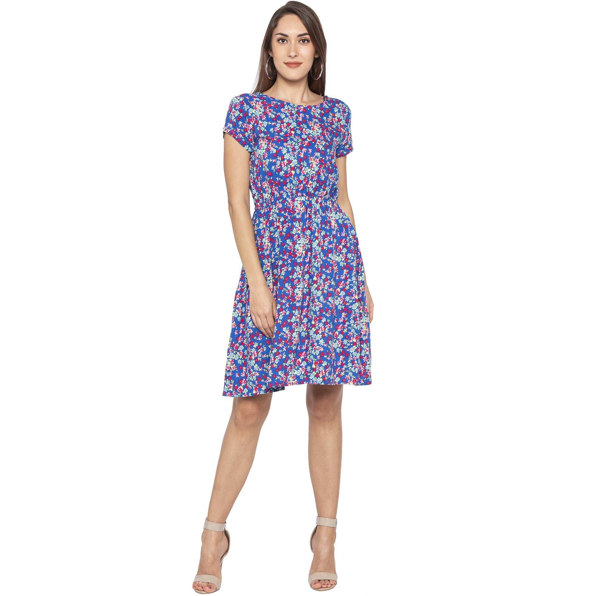 Casual Blue Color Floral Fit and Flare Dress-1