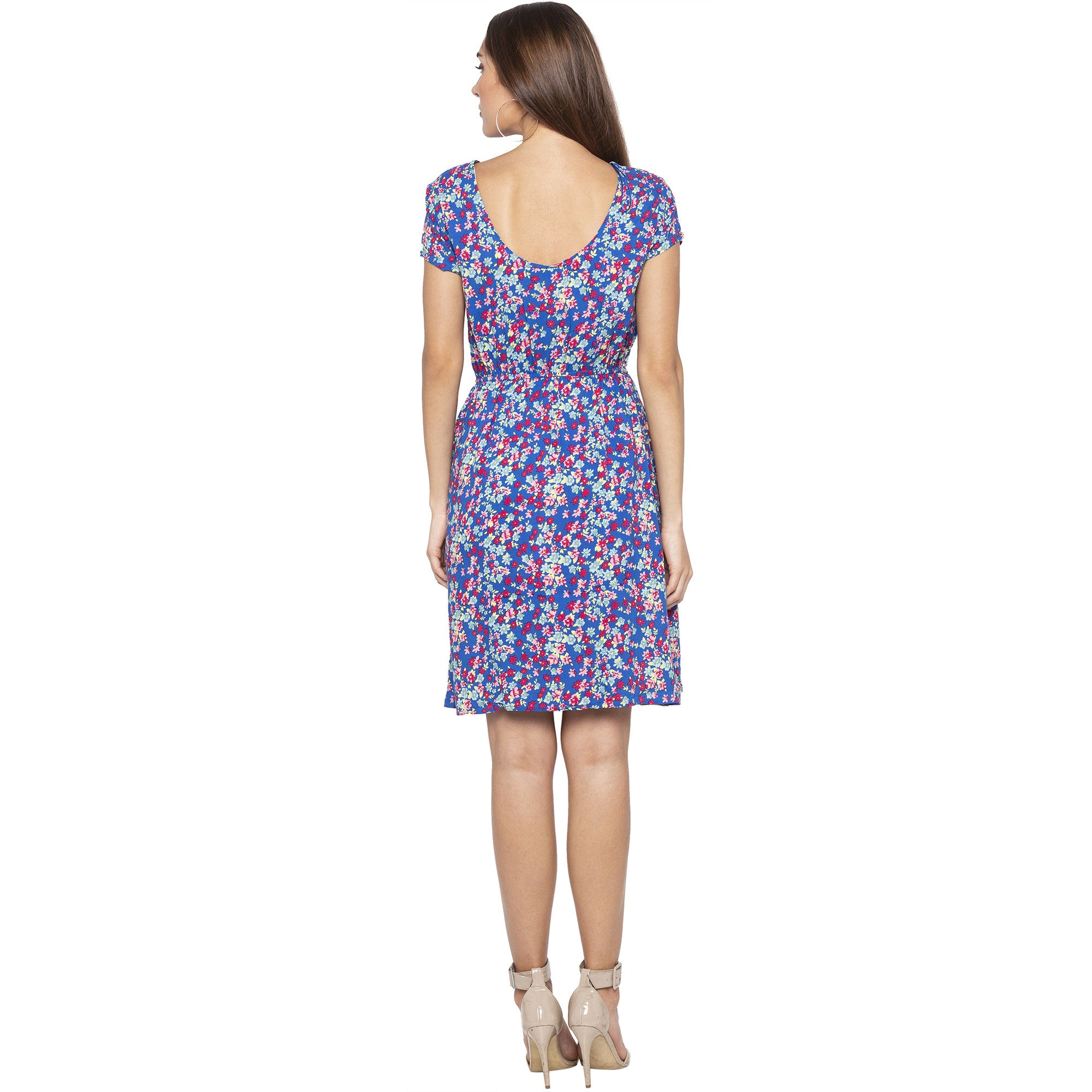 Casual Blue Color Floral Fit and Flare Dress-3