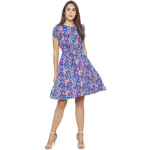 Load image into Gallery viewer, Casual Blue Color Floral Fit and Flare Dress-4