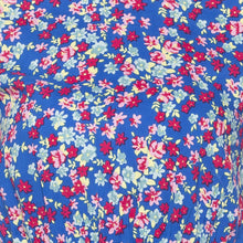 Load image into Gallery viewer, Casual Blue Color Floral Fit and Flare Dress-5