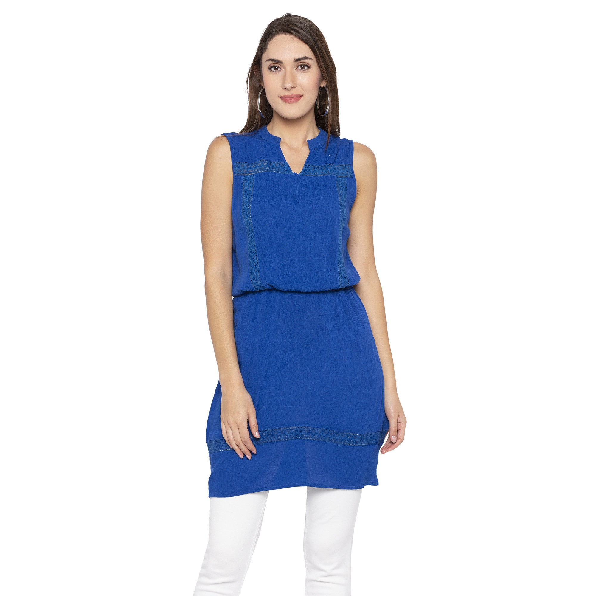 Casual Blue Color Solid Blouson Dress-1