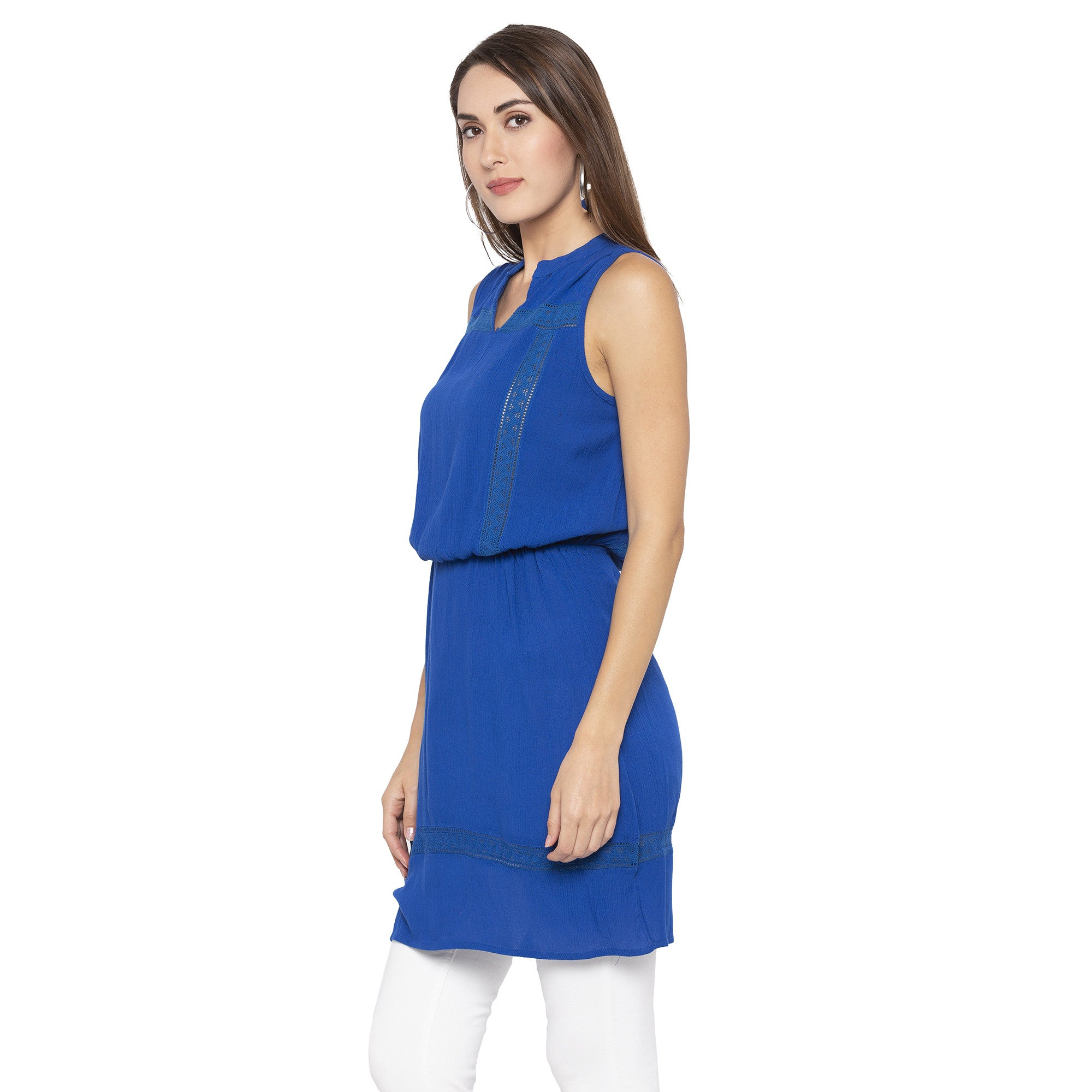Casual Blue Color Solid Blouson Dress-2