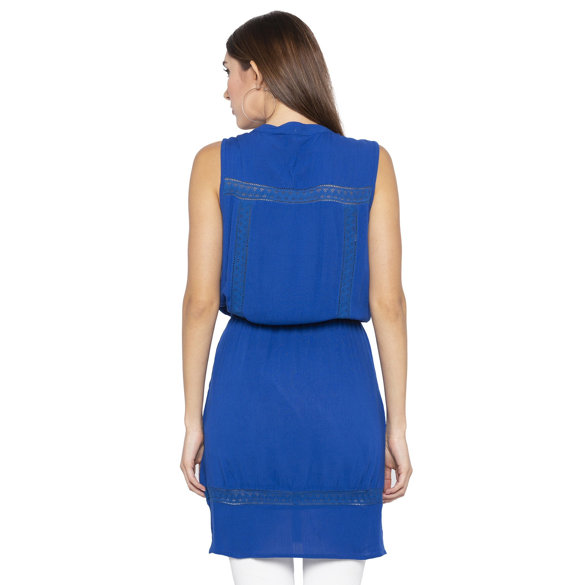 Casual Blue Color Solid Blouson Dress-3