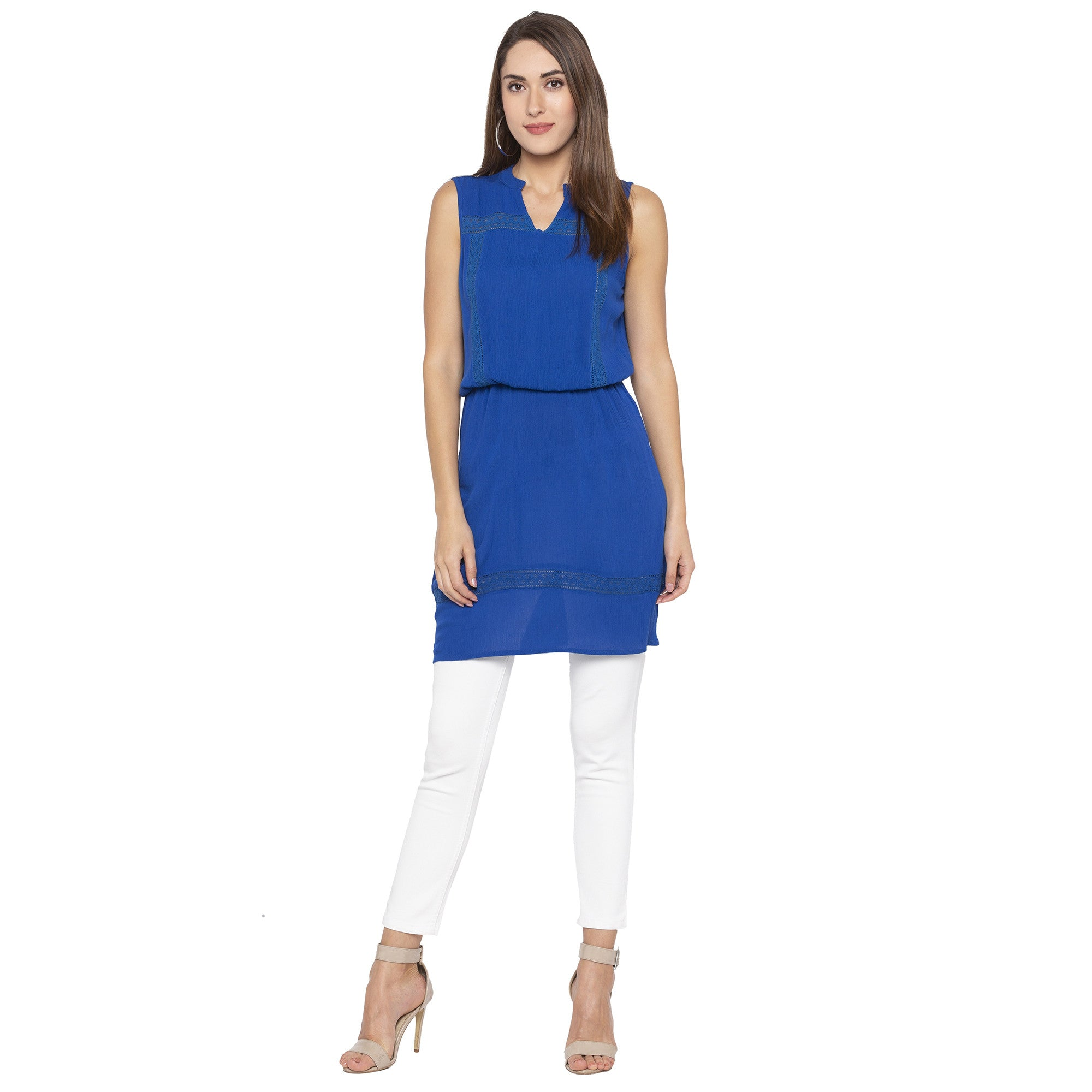 Casual Blue Color Solid Blouson Dress-4