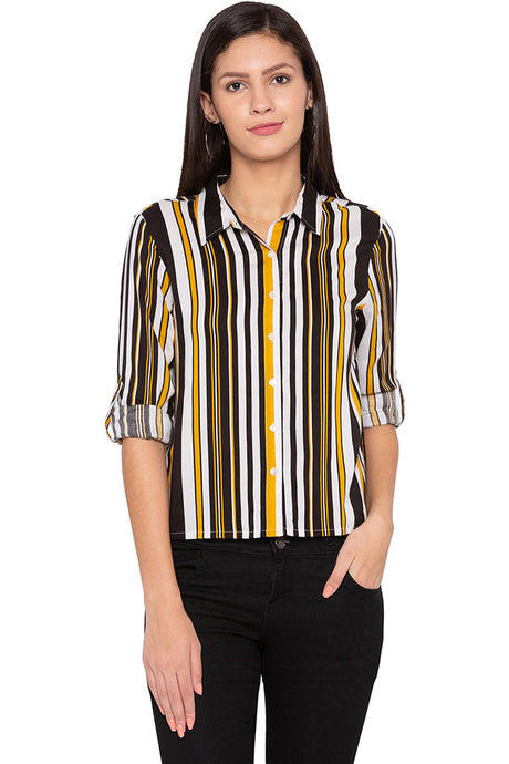 Vertical Stripes Black Yellow Shirt-1