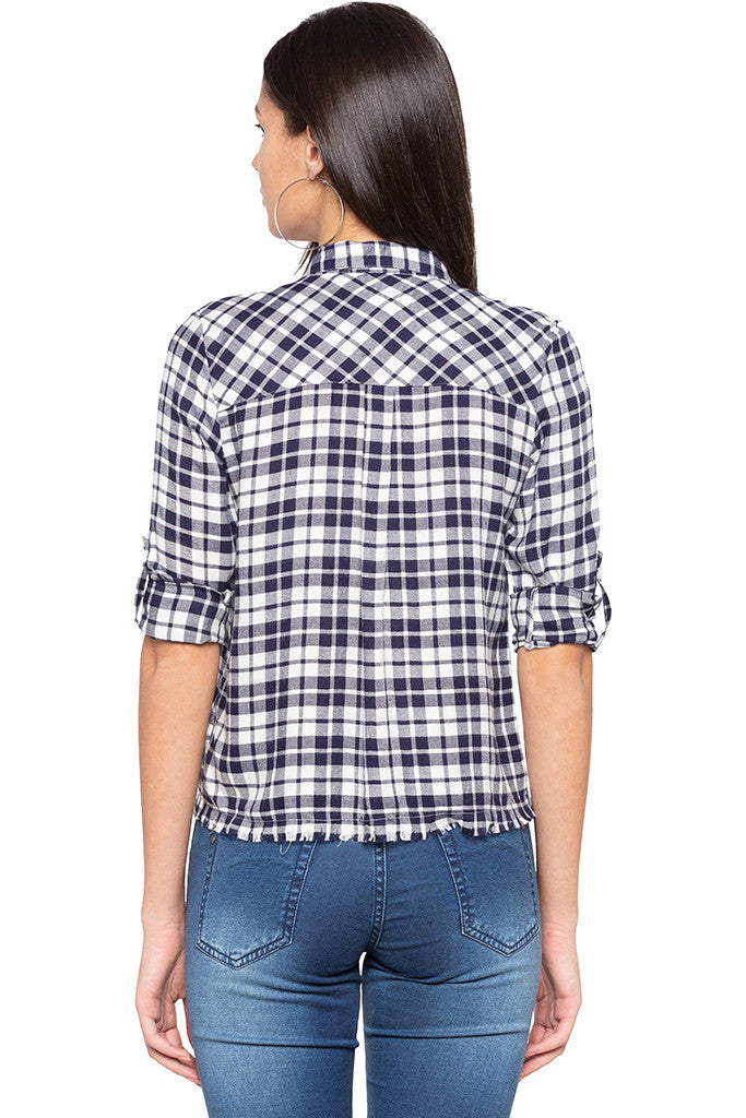 Raw Edge Checked Shirt-3