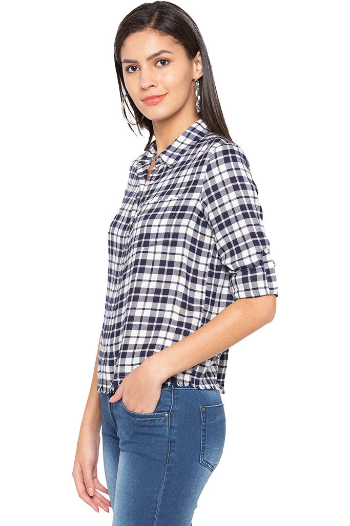 Raw Edge Checked Shirt-4