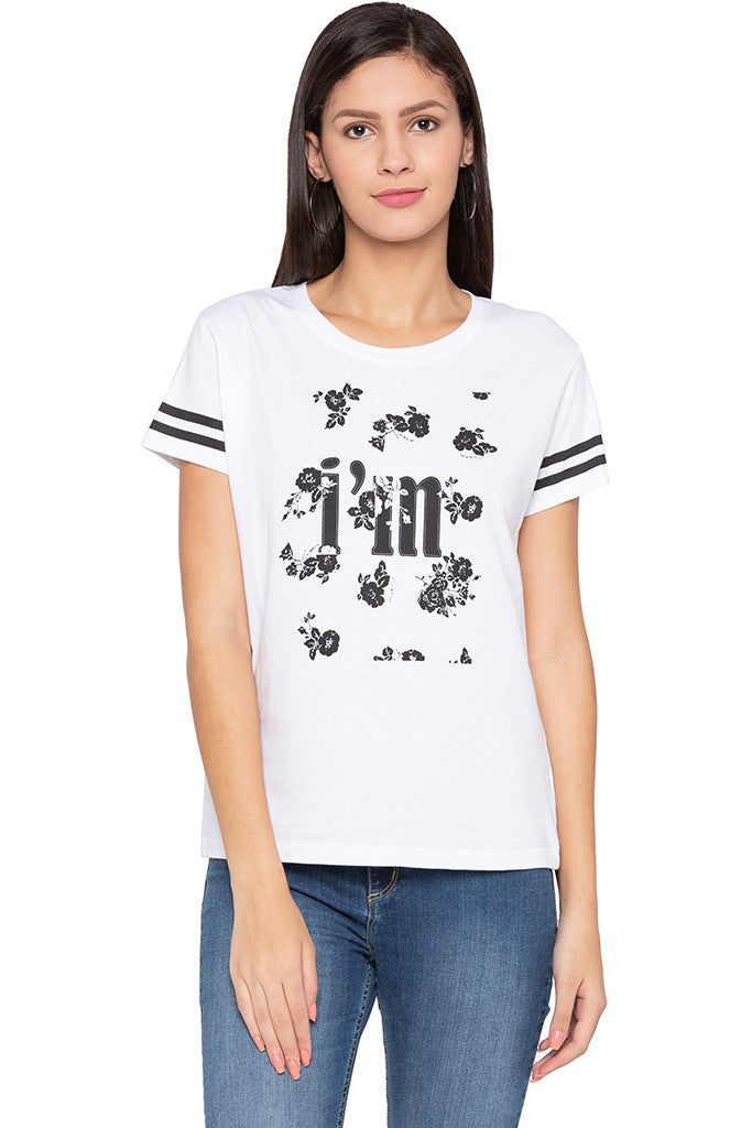 Printed Front White T-shirt-1