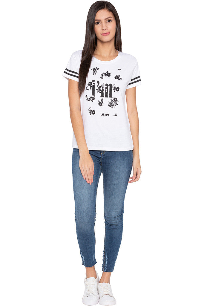 Printed Front White T-shirt-2