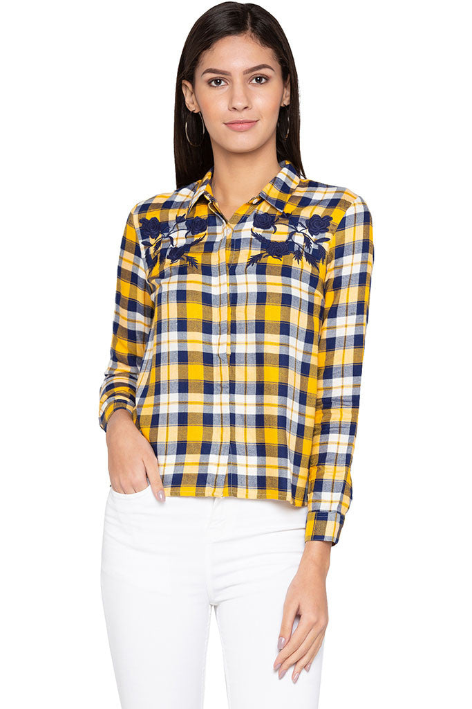 Embroidered Yoke Checked Shirt-1