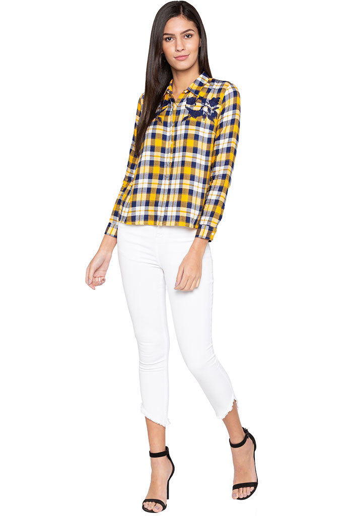 Embroidered Yoke Checked Shirt-2