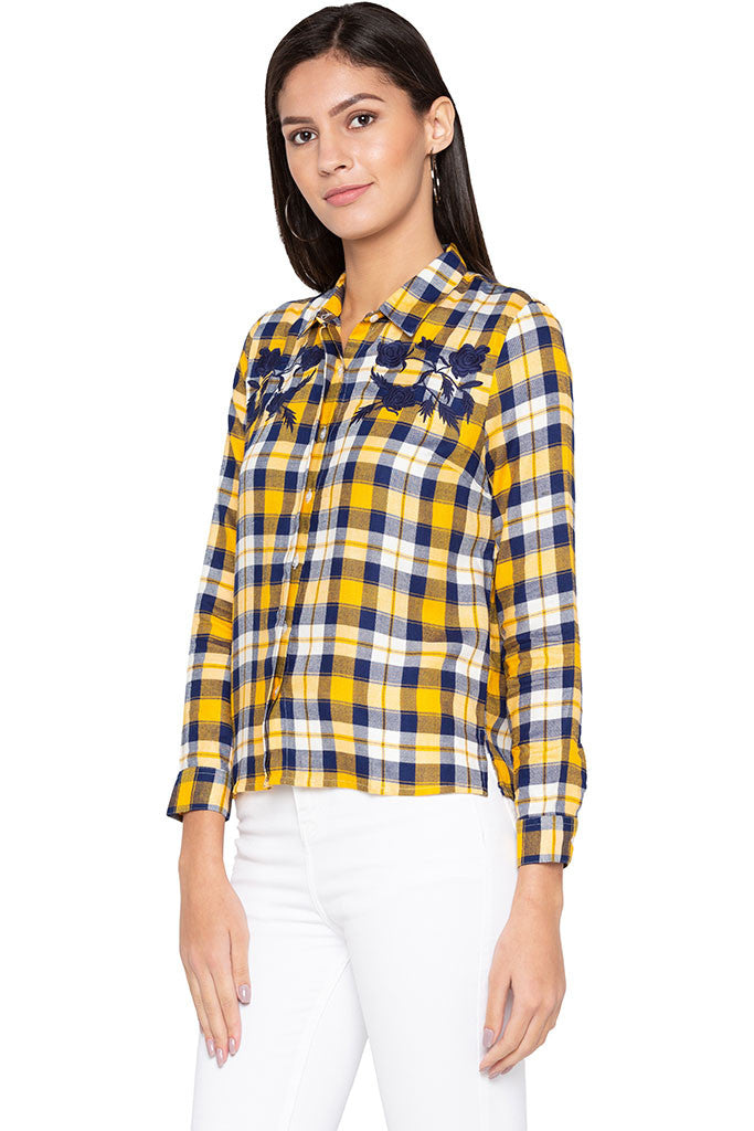 Embroidered Yoke Checked Shirt-4